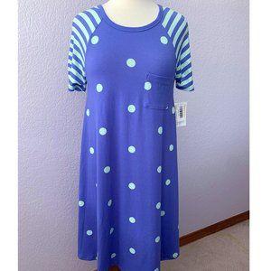 LuLaRoe Carly XS purple perwinkle mint polka dots